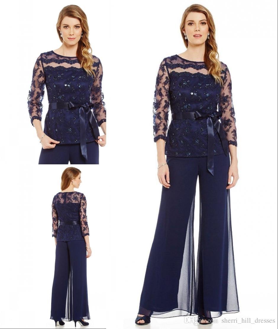 На заказ темно-синий две части Матери брюки костюм чистой драгоценный камень шеи для свадьбы кружева аппликация бисер брючные костюмы для жениха матери DH5113