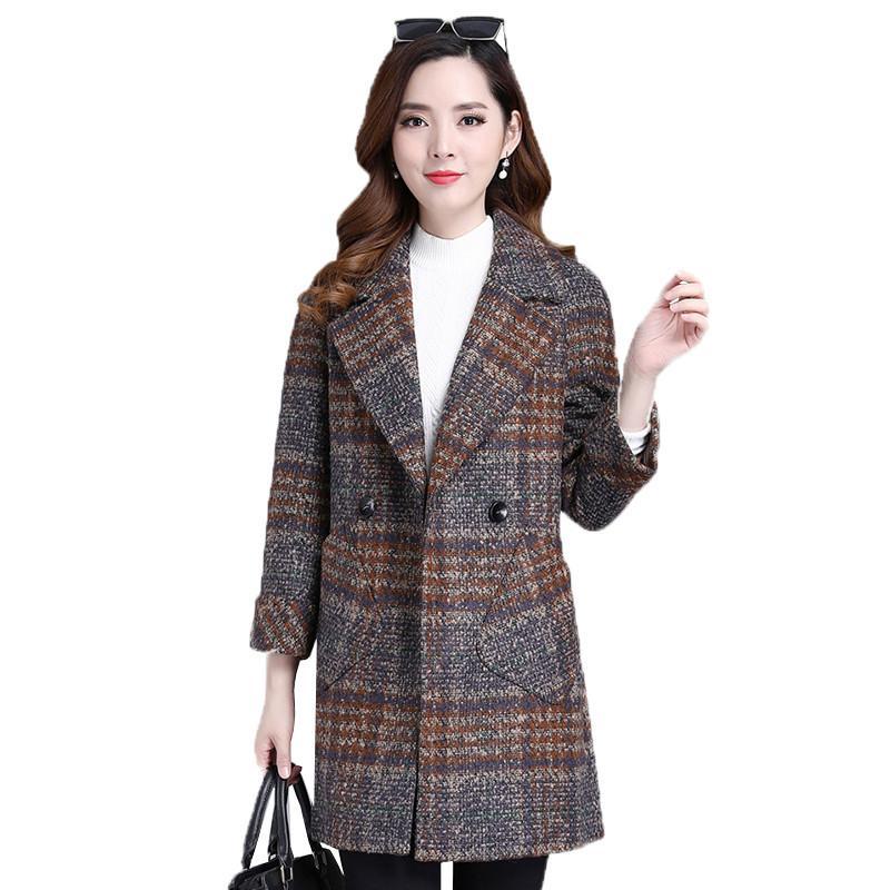 Frauen Wollmischungen Herbst Winter Oberbekleidung Frauen Große Größen Mantel Casual Plaid Coats Doppelrei Breasted Mode Revers Weibliche Jacke FC49