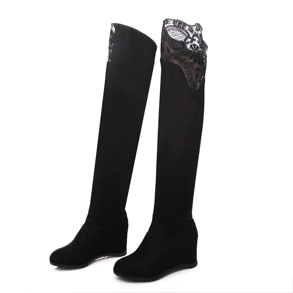 Hiver Bottes de neige pour les femmes sexy en dentelle Wedges Cuissardes Slip-on Chaussures Femme Casual Augmentation Botas Mujer Chaussures # 30