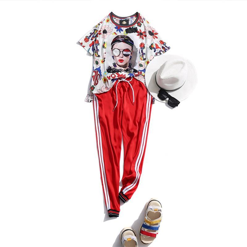 Conjunto de 2 piezas para mujer Streetwear 2019 Impresión de moda de verano Tops de manga corta Cintura elástica Pantalones hasta el tobillo Mujeres Conjunto de dos piezas