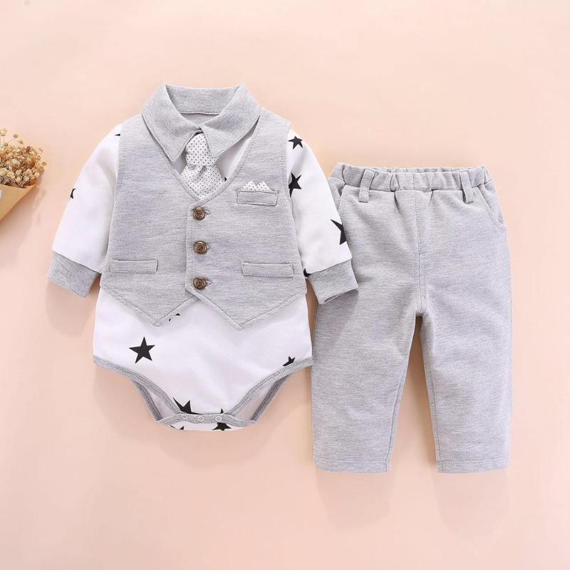 Costume d'escalade Vêtements de bébé nouveau-né Robe européen de printemps Homme Garçons Coton Ensembles Gilet Imprimer Mode