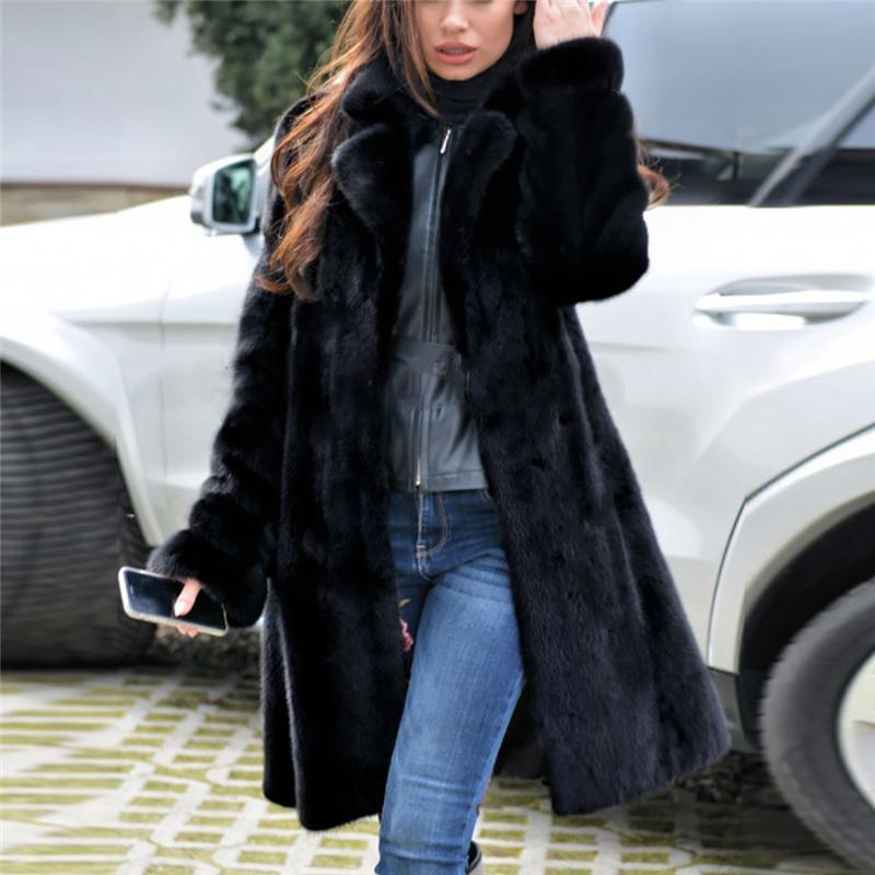 Для женщин уравновешивания шерсти воротник пальто женщин способа повелительниц Теплый искусственного меха Пальто зимы куртки V-образным вырезом Твердая Длинные Верхняя одежда Зима Плюс Размер