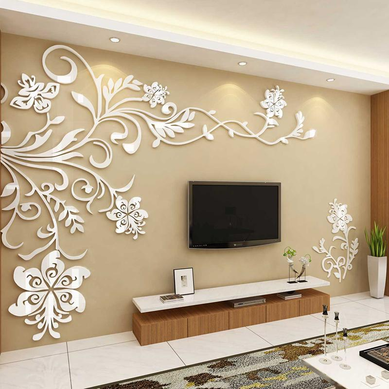 European Style 3d Flower Tree Wall, Wall Stickers For Living Room