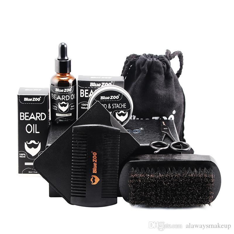 Beard Care Kit 7Pcs Set Beard Oil Wax Brush Comb Scissors Wallet Bag beard kit tool High quality