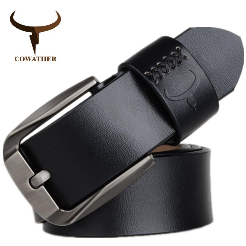 pin stile fibbia mucca cinghie di cuoio genuini dell'annata per gli uomini 120cm mens di alta qualità cinturones cinghia hombre trasporto libero