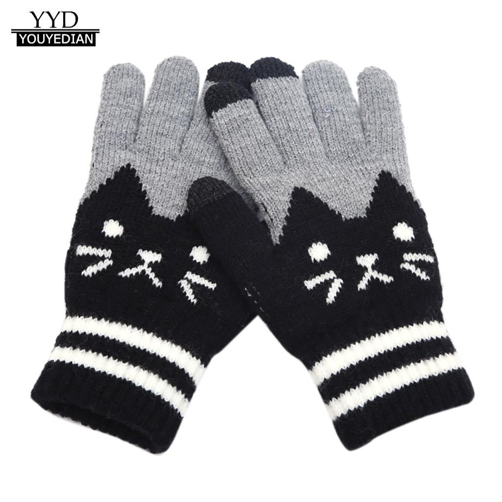 gloves for Womens Men Winter Cut Cat Knit Click Screen Fingers Screen Warm Fleece Glove guantes tactiles femme hiver