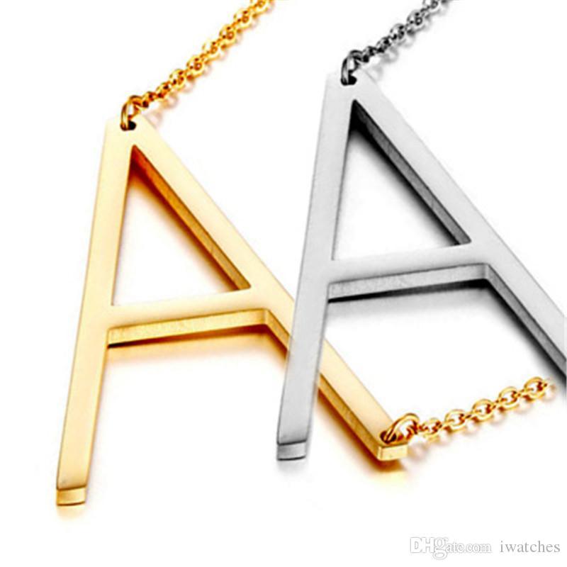 A-Z Kolye Kolye Moda 26 Alfabe İngilizce Mektup Kolye Kolye Lady Paslanmaz Çelik Şerit Altın Kolye Zincir Takı Hediye