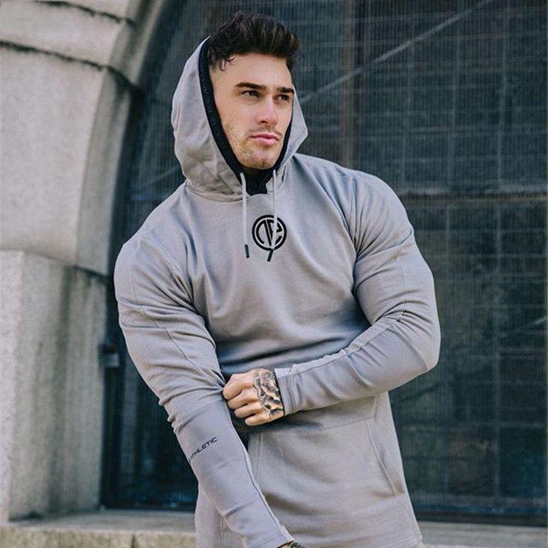 Ginásios Hoodie de Fitness Musculação manga comprida Hoodies Homens Sólidos Workout Sling camisola Men Cotton Sportswear shirt