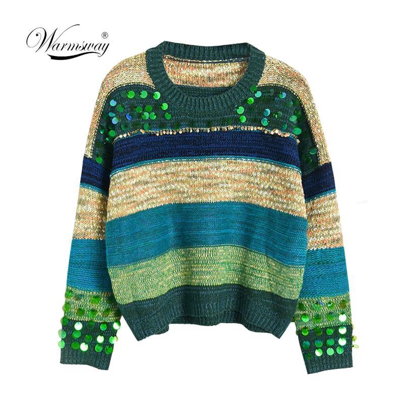2020 осень зима новое прибытие плюс размер женщины старинные бисероплетение блестки свободные вязаные свитера с длинным рукавом женские пуловеры C-084