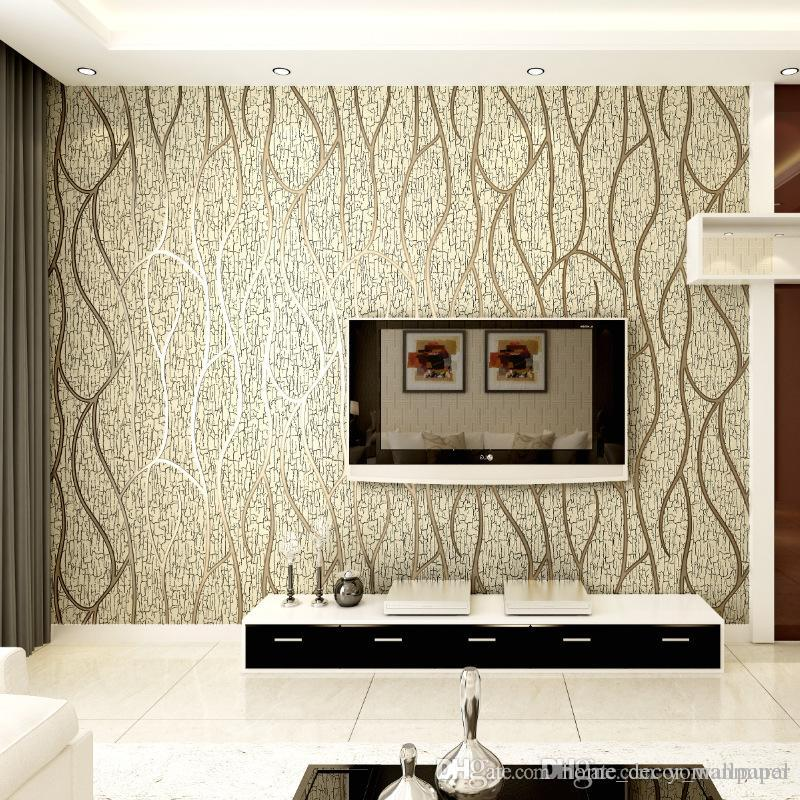Modern 3D Embossed Deerskin line 3D Flocking Wallpaper For Bedroom Living Room Home Decoration 3D WallPaper roll Home Decoration
