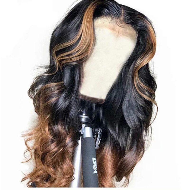 يسلط الضوء على الدانتيل كامل شعر الإنسان الباروكات الجسم متموجة أومبير الرباط الجبهة الباروكة البرازيلي العذراء الشعر البشري قبل التقطه شعري الطبيعي 150٪ الكثافة