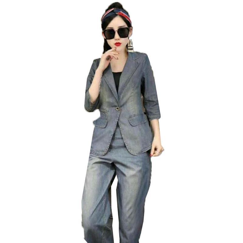 유럽 패션 데님 두 조각 세트 여성 봄 가을 슬림 한 벌 한국 데님 넓은 다리 바지 캐주얼 2 조각 세트 앙상블 femme