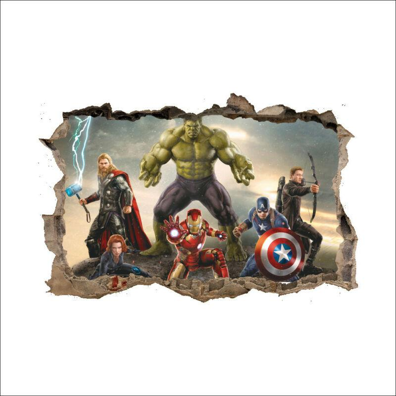 Captain America Green Hulk Wall Sticker Removable 3D Avengers Ultron Cartoon Kids Wallpaper Decal Decor Christmas Children Gifts