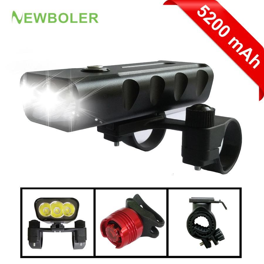 NEWBOLER 2400 Lumen 3 LED vélo léger 5200mAh L2 / T6 lampe de poche USB Charge lampe vélo avant Set Light 2 Mount Holder Accessoires Y191211