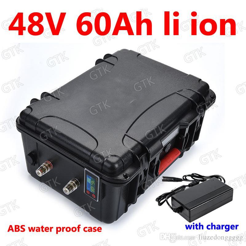 armazenamento GTK 48v impermeável 60Ah bateria de lítio Li ião BMS para scooters 2000w 2500w inversores Empilhador energia solar + 10A carregador