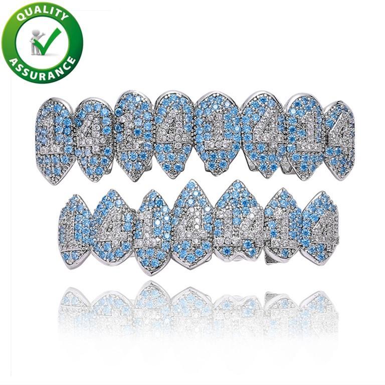 design di lusso denti mens gioielli hip hop Grillz ghiacciato fuori il diamante Griglie accessori rapper degli uomini di modo oro argento bling fascino nuovo fiammante
