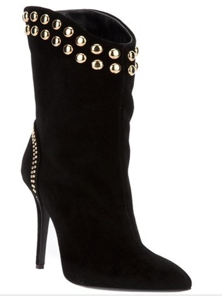 Sıcak satış-ayakkabı, şık moda, süet, perçin dekorasyon, 11 cm yüksekliğinde topuk çizmeler, orta buzağı botlar, banket ayakkabılar. BOYUT: 34-45