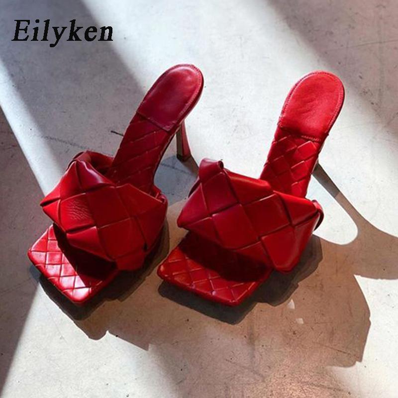 Eilyken الصيف تصميم جديد الأفعى طباعة الكعوب تو مربع عالية الجودة بو الجلود النعال المصارع الصنادل المرأة الشرائح أحذية