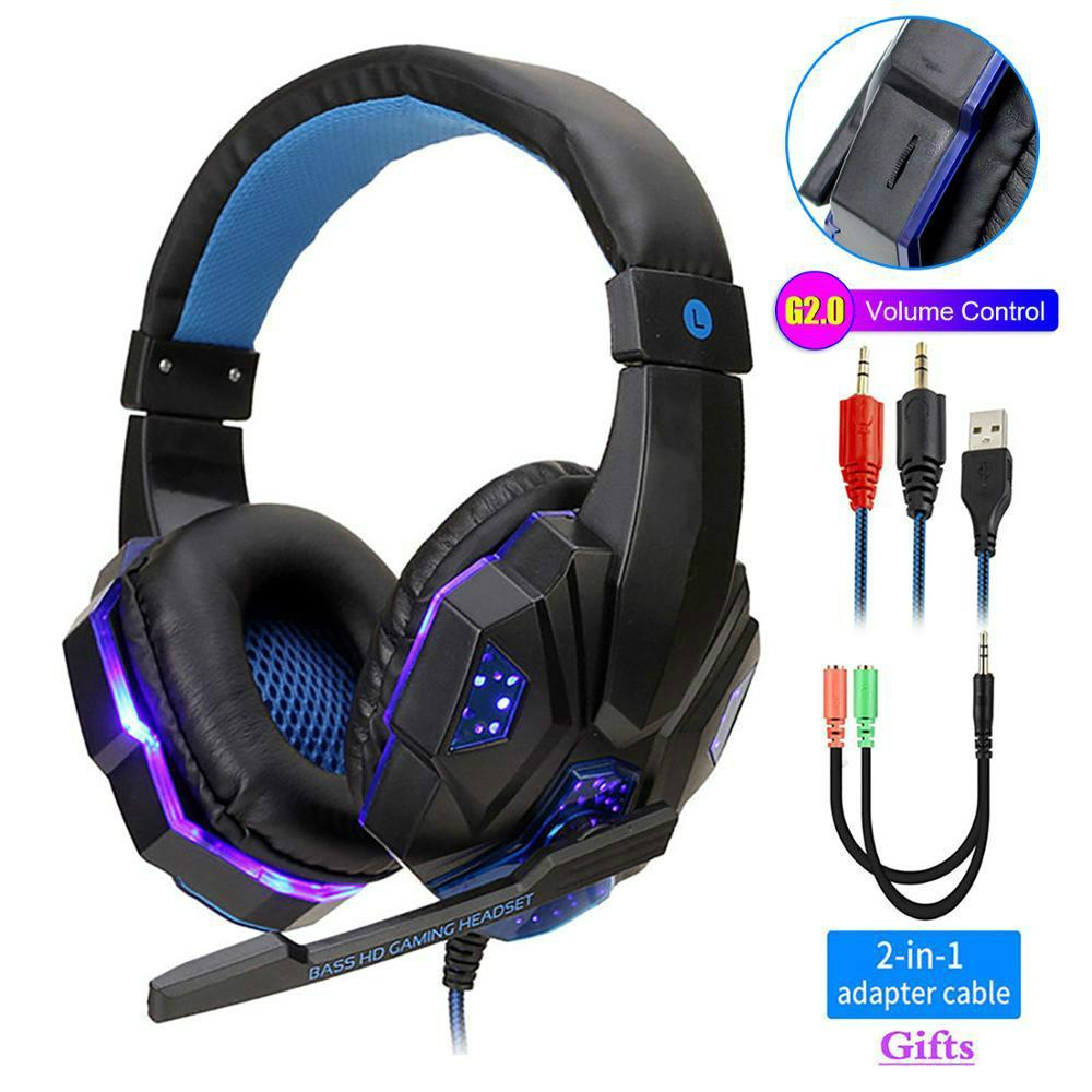 Profesyonel LED Işık Oyun Kulaklıklar Bilgisayar PS4 Ayarlanabilir Bas Stereo PC Gamer Mic hediyeler (Perakende) ile Kulak Kablolu Kulaklık