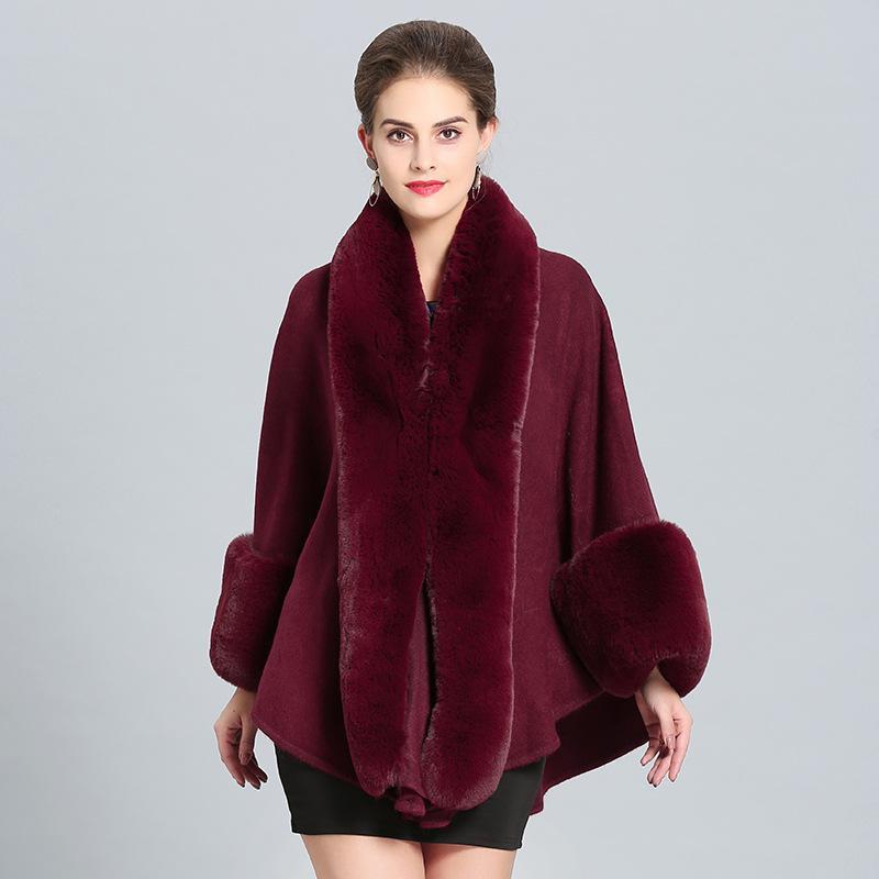 Le donne di lana scialle con Faux pelliccia del coniglio Trim con collo di pelliccia avvolgere Autunno Primavera Cape Coat con polsini stola di pelliccia