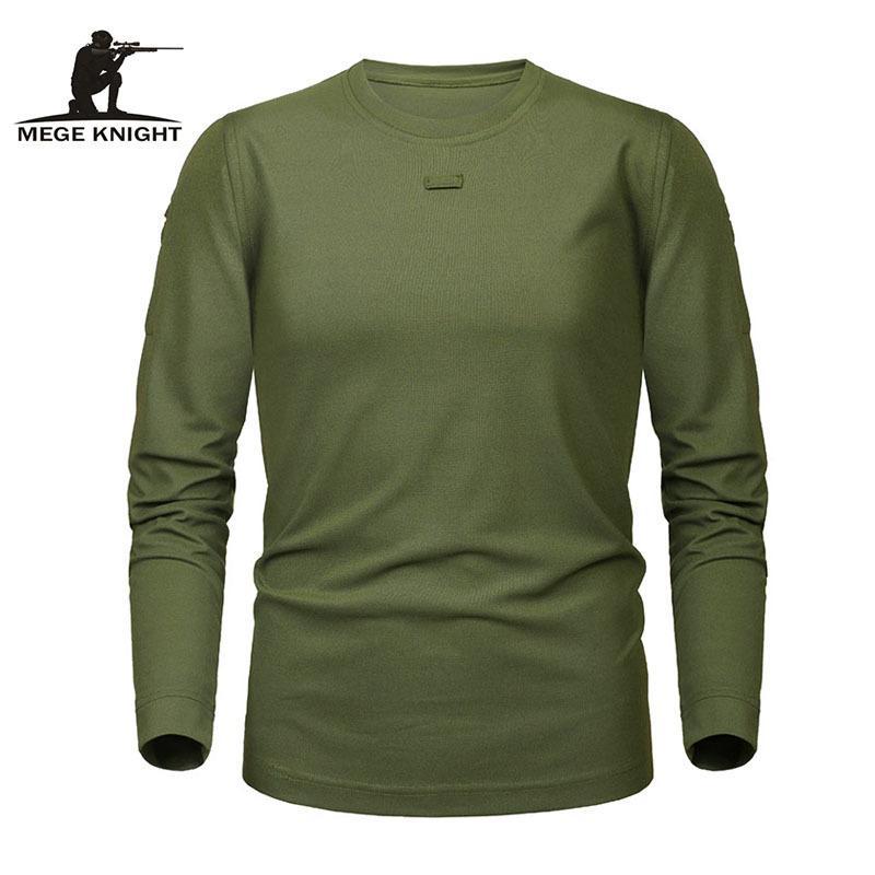 camicia MEGE Marca tattico Militare Abbigliamento Uomo di Dropshipping Solid Coolmax asciugatura rapida Lunga Army manica Casual Male Tee Shirt Y200104