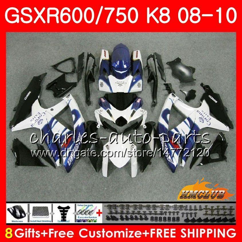 Carrozzeria per Suzuki GSX-R600 GSXR-750 Blue Sale Hot GSXR600 2008 2009 2010 9hc.48 GSXR750 GSX R750 R600 K8 GSXR 600 750 08 09 10 Fairings
