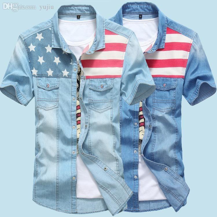 Al por mayor de los nuevos hombres Jeans Camisas de verano 100% algodón Lavado Agua Superior Masculina camisa de manga corta de la bandera americana dril de algodón para los hombres