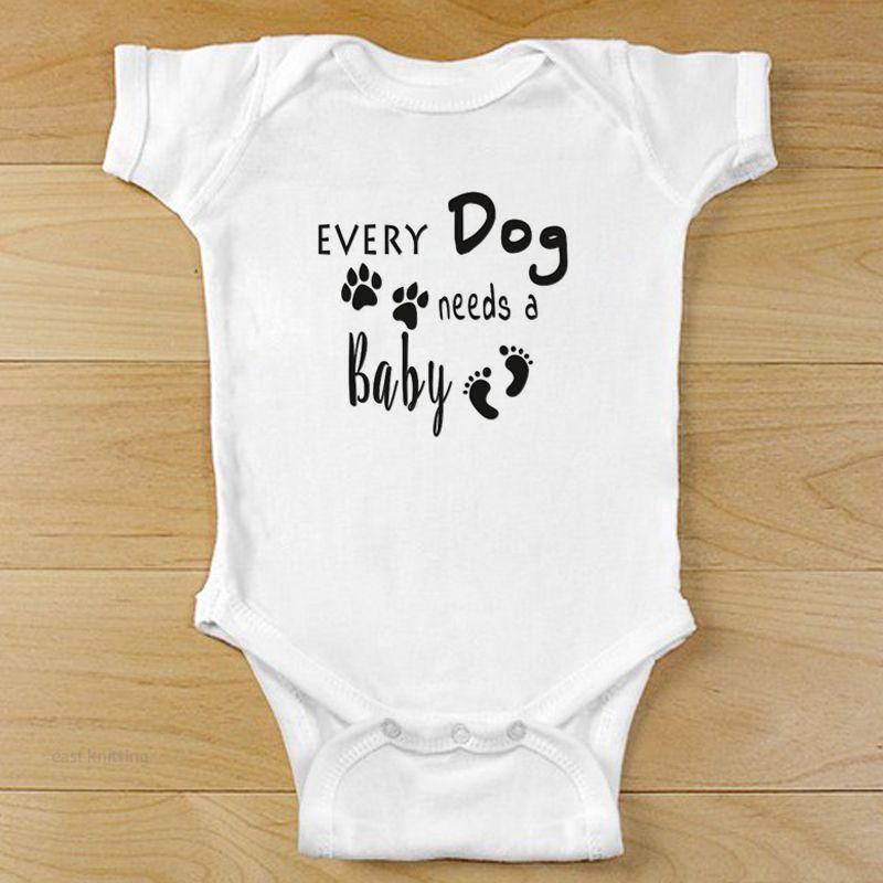 Yenidoğan Bebek Kız Erkek Kısa Kollu Her Köpek Bir Bebek Harf Romper Tulum Kıyafet Yaz Bebek Giyim Baskı İhtiyaçları