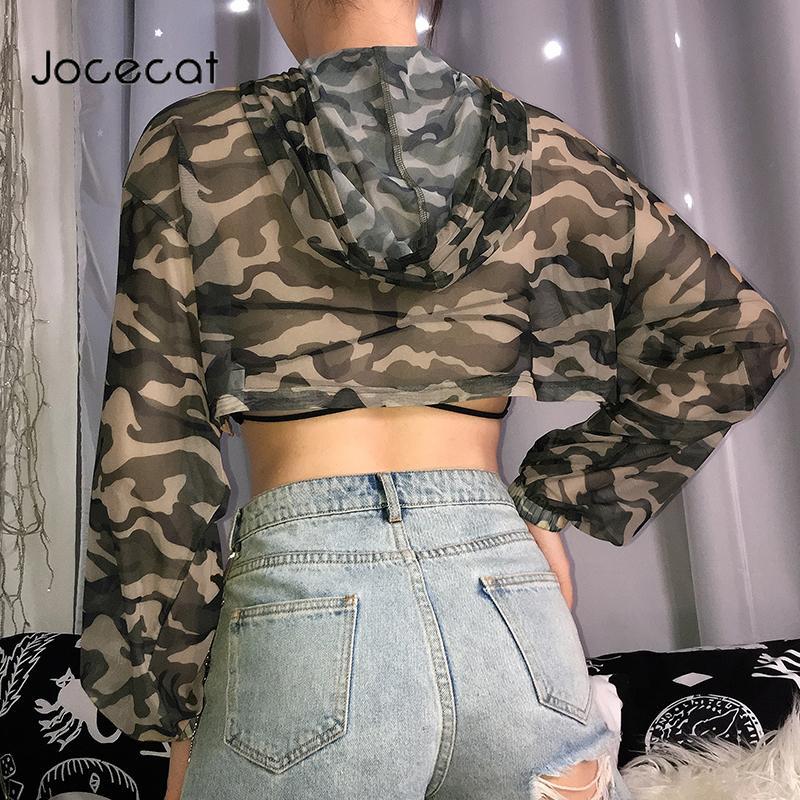 Cultivos de camuflaje Impreso transparente atractiva rejilla superior mujer de manga larga camiseta superior de Verano 2020 informal de gran tamaño Streetwear
