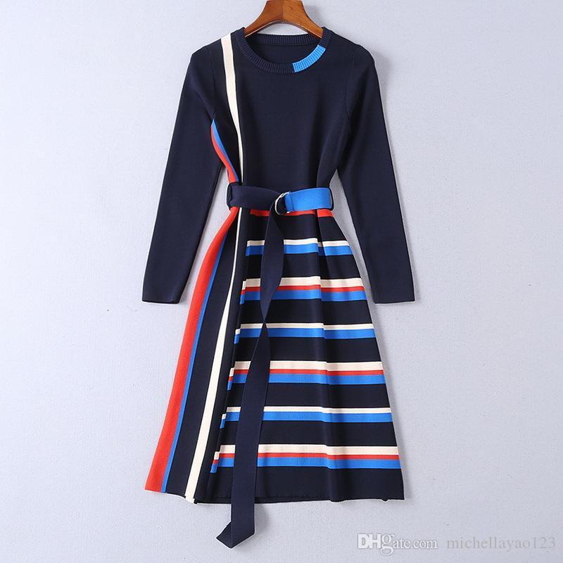 2019 di maglia a strisce lunghe maniche Mrmaid donne vestono per le vacanze di marca stessa pista di stile Sashes Milano Dress 11903