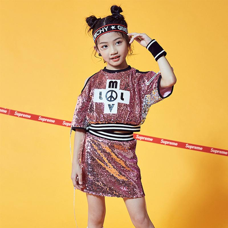 Hip Hop Dance Costume Sequined Modern Top Skirt Cheerleader Outfit Kids Jazz Suit Girls Stage Street Dancing Clothing DNV11082