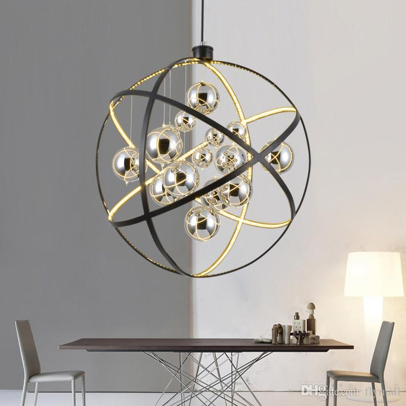 Modern Black Metal LED Pendant Light Chrome Glass Ball Living Room Led Pendant Lamp Dining Room Crystal Chandelier Led Hanging Lights