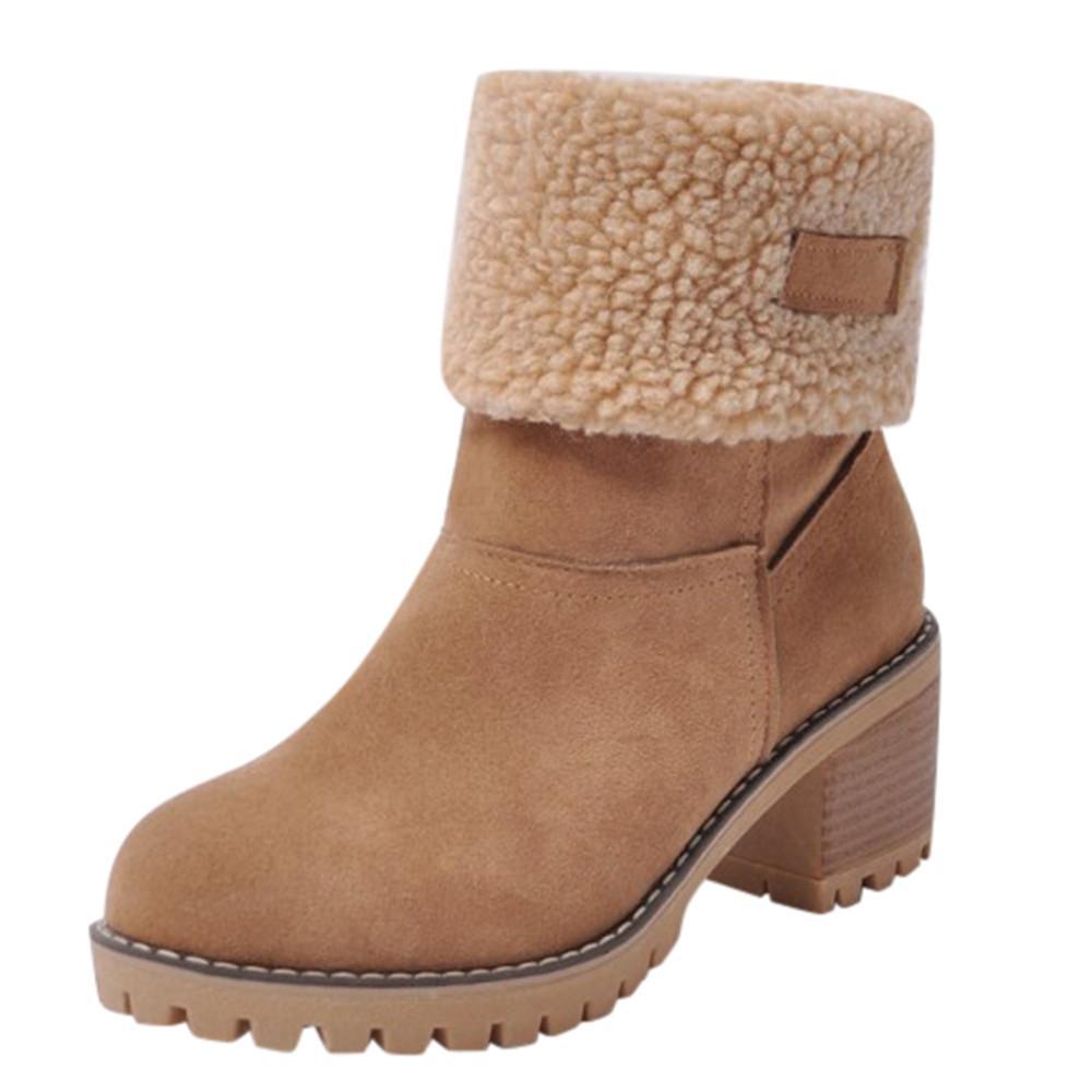 Zapatos de las señoras de las mujeres de invierno Flock cargadores calientes botas cortas Bootie nieve de la felpa botas invierno de las señoras zapatos Flock Flock caliente