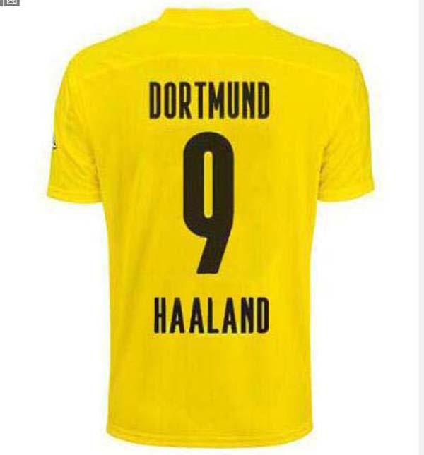 Dort # 9 Haaland # 10 Home Home Futebol Jerseys 2020 # 11 Reus # 7 Sancho Soccer Jersey Camiseta 20-21 Manga Curta Bundesliga Futebol Uniformes