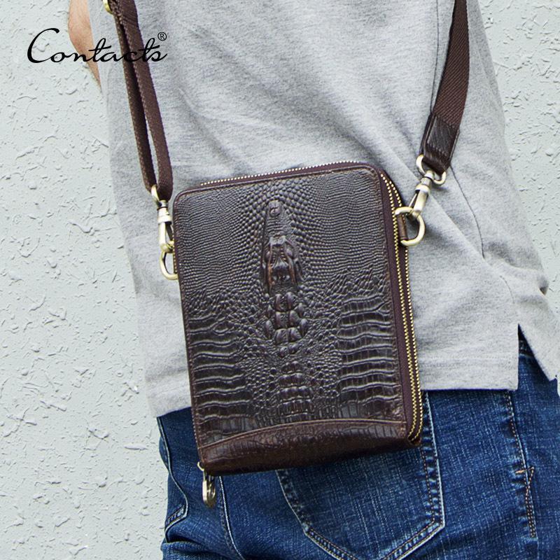 Men's Genuine Leather Messenger Bag Vintage Shoulder Bags Crocodile Crossbody Bags For Men With Mobile Phone Pouch Waist Bag Y19051802