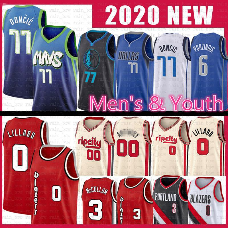 Luka Damian 0 77 Lillard Doncic Basketball Jersey Kristaps CJ Carmelo Anthony Porzingis McCollum DallasMavericks0 Blazer Maverick