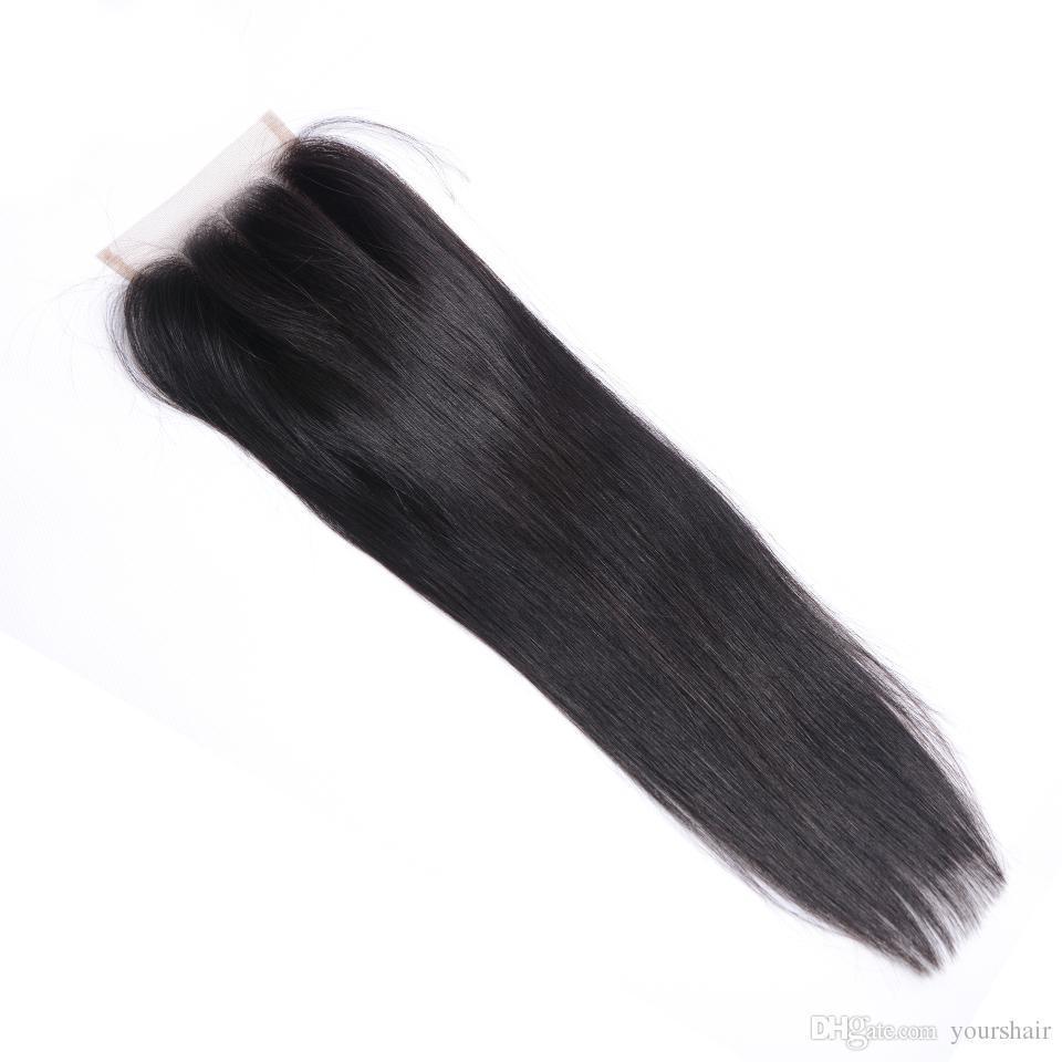 """Бразильский перуанский монгольский малайзийский камбоджийский Индийский Реми закрытие человеческих волос прямой 8"""" -20 """" наращивание волос Бесплатная доставка дешевая цена"""