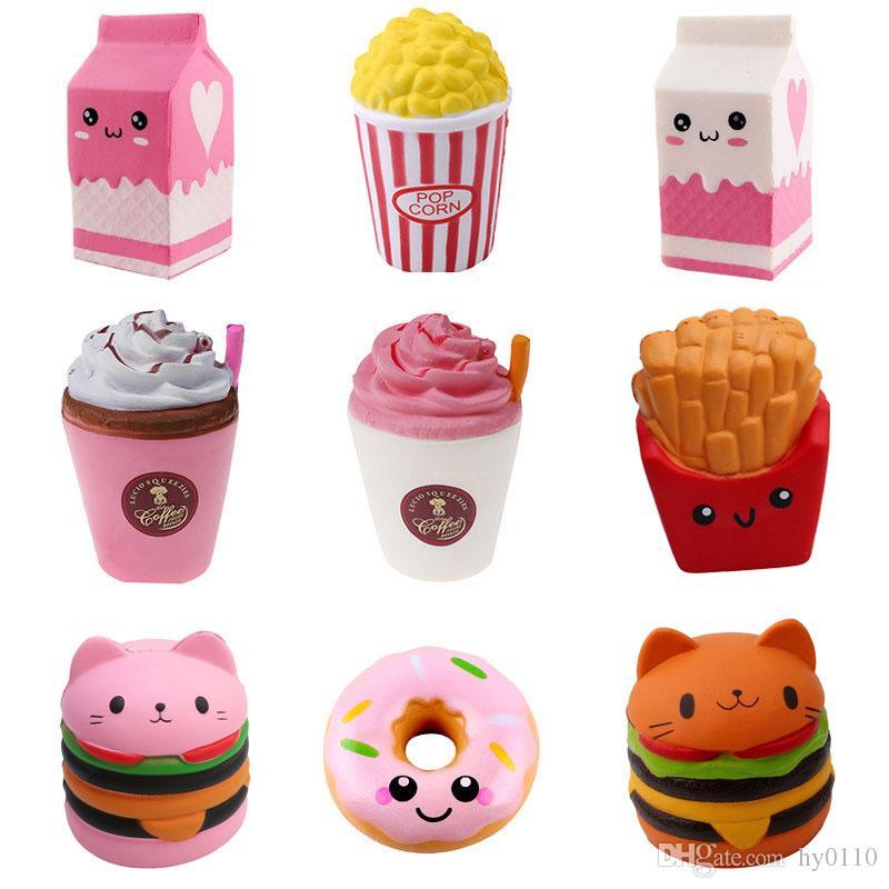 Squishies Brinquedos Squishy Cartoon Milk Carton Hamburger Chips Popcorn Squeeze Lento Rebonte Engraçado Brinquedos Kawaii presentes para crianças