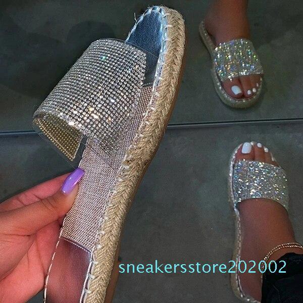 Блестящие тапочки женские летние сандалии 2020 мода Bling женские конфеты цвет вьетнамки пляж Алмаз плоские туфли открытый сандалии s02