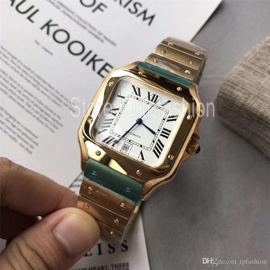 Nuovo elegante orologio al quarzo di alta qualità da uomo Quadrante argento dorato Orologio da polso classico design quadrato Orologio da uomo casual in acciaio inossidabile 1718
