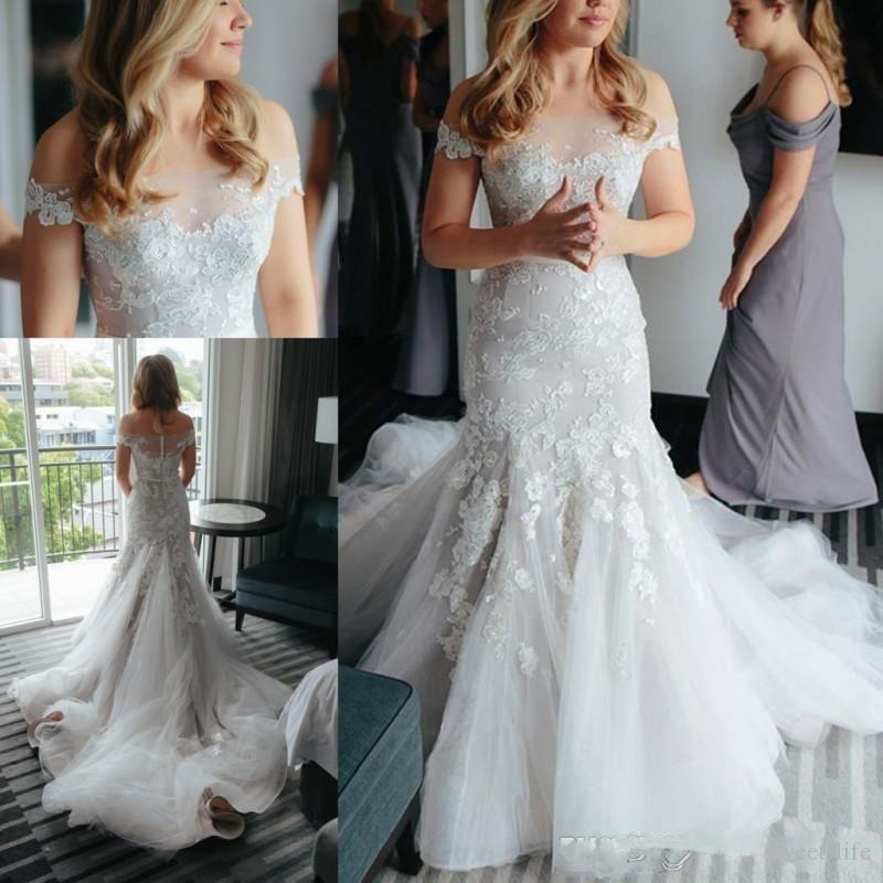 Elegante 2020 Sexy Appliques Sirena Flora Bianco Abiti da sposa fuori spalla Mermaid Plus Size Bridal Gown Robes de Mariée