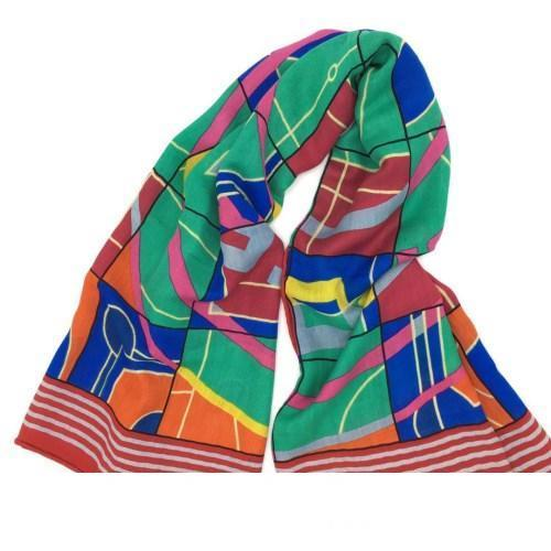 New tricotée 50% soie 50% Designer motif d'impression de laine trois couleurs foulard carré pour les femmes taille 130cm