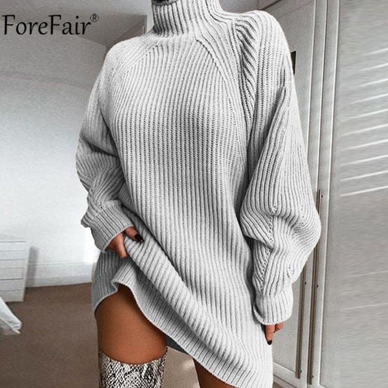 Forefair Turtleneck Uzun Kollu Triko Elbise Kadınlar Sonbahar Kış Gevşek Tunik Örgü Casual Pembe Gri Giyim Katı Elbiseler