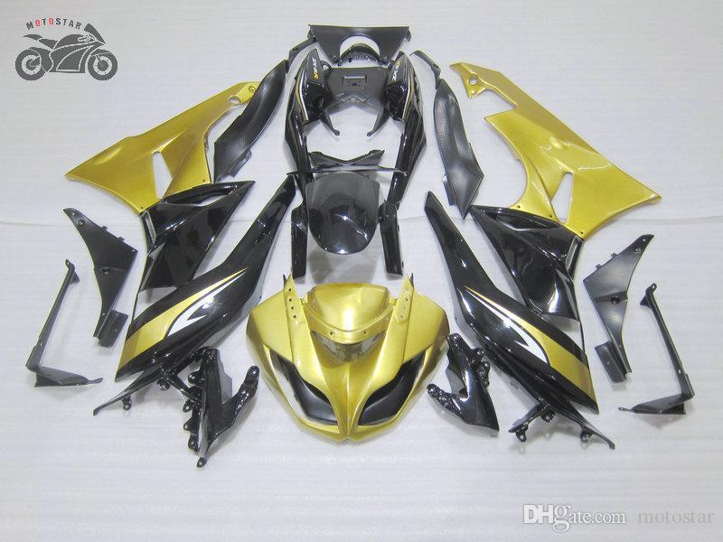 Personalizar carenados de la motocicleta para los kits de Kawasaki Ninja ZX6R negro de oro de encargo kit de carenado ZX6R X 6R 636 ZX636 09 10 11 12