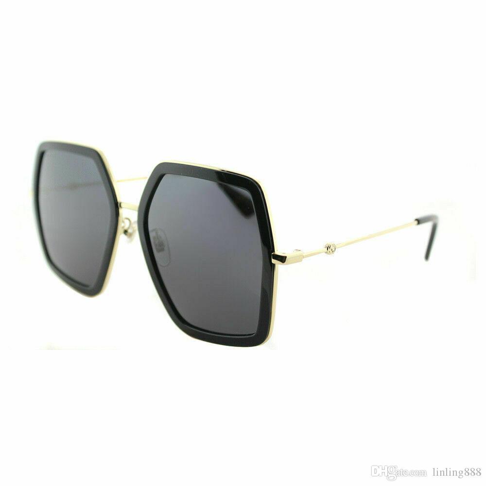 Neue Womens 0106S 001 gold schwarz metall quadratische sonnenbrille graue linse sonnenbrille schwarze frauen sonnenbrille mit case neu mit tags box