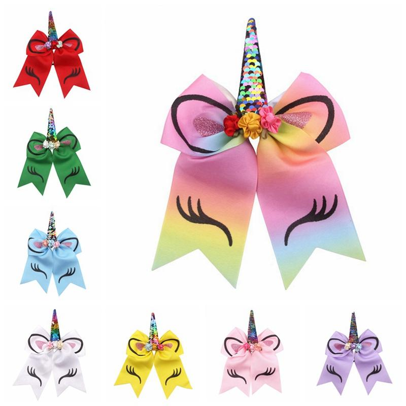 Bambini Unicorn Archi BOws Pom Bande per capelli Bambini Capelli clip gioielli Paillettes Bow Arco Elastico nastro Hairband Bambini Gifts Counytail Girls Capelli Corda HHA437