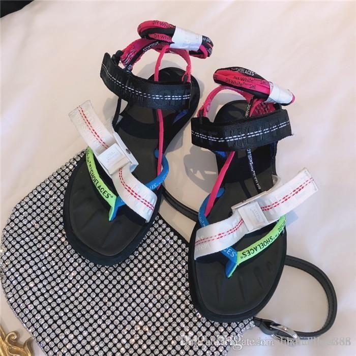 하이 엔드 포장 여성 여름 대기 실크 bowknot 샌들 다채로운 세븐 색상 개방 발가락 통기성 레이싱의 평면 캐주얼 샌들