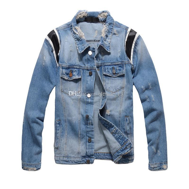 street style blue men demin jackets with leather shoulder lapel neck vintage Frayed hip hop demin jacket