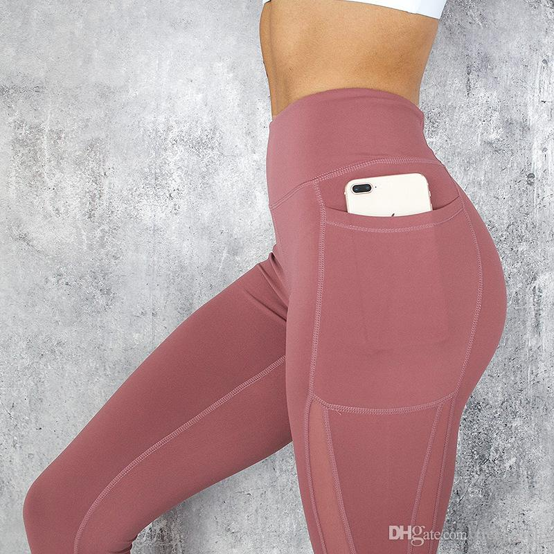 Polainas de las mujeres Cintura alta Celular Bolsillo Panel de malla Compresión Elástico Yoga Entrenamiento Pantalones Capri Tight