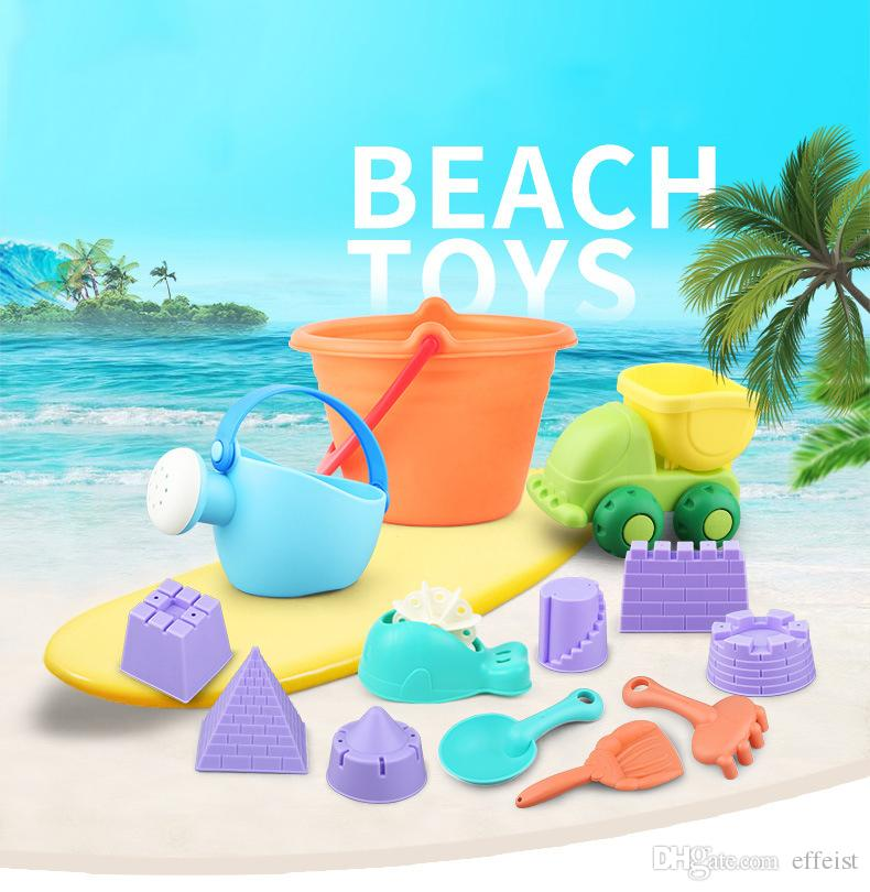 Wholesale Wishtime Kids Beach Toys Toddlers Beach Sand Toy Set with Bucket Castle Molds and Mesh Bag Soft Plastic Material